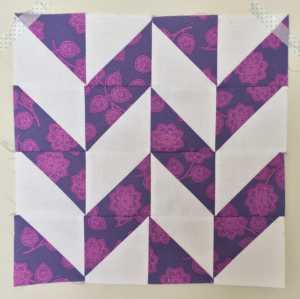 Herringbone Half Square Triangle Quilt Block