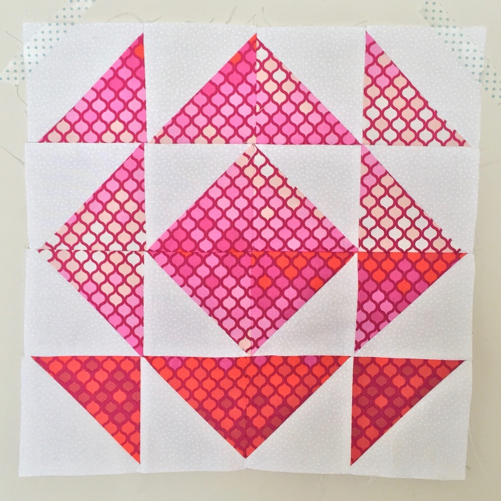 Mosaic  Half Square Triangle Quilt Block