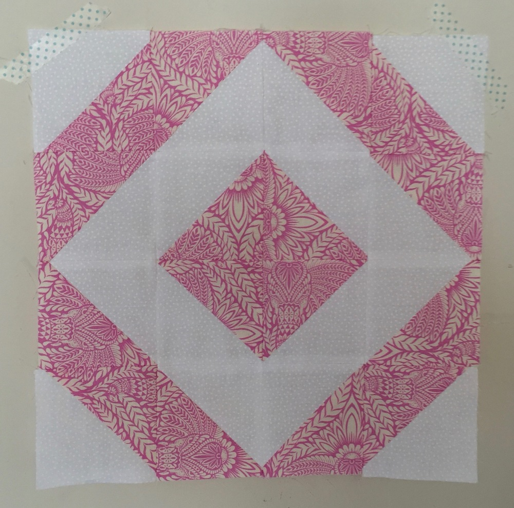 Fancy Stripe  Half Square Triangle Quilt Block