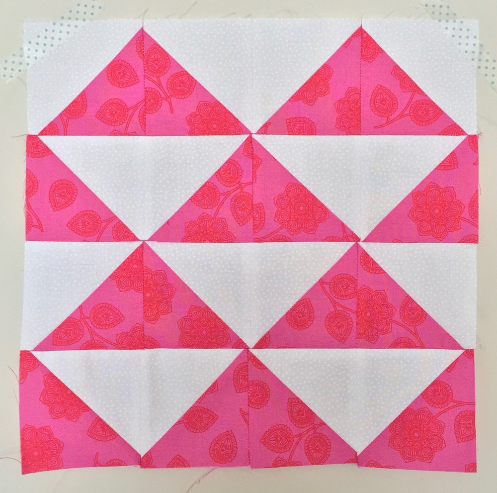 Stacked Pyramids (Flying Geese variation)  Half Square Triangle Quilt Block