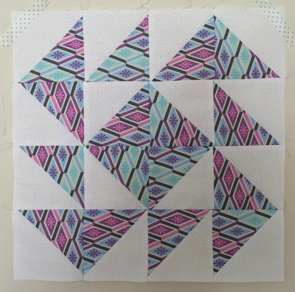 Yankee Puzzle (variation)  Half Square Triangle Quilt Block