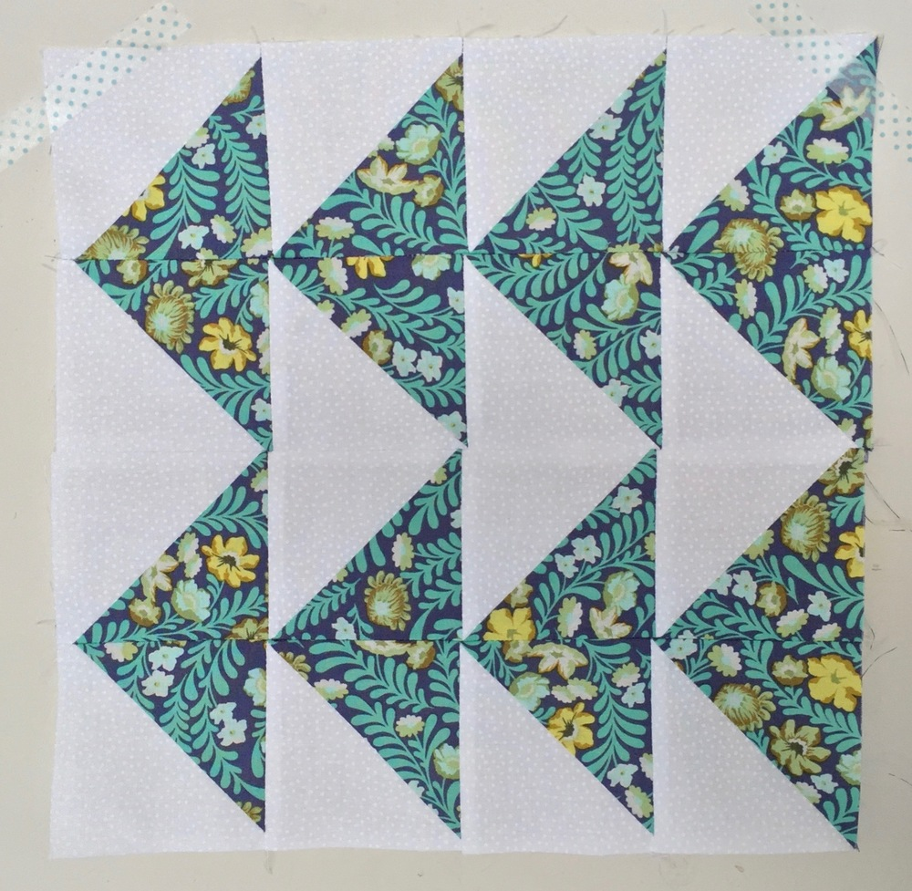 Triangles (Flying Geese variation)  Half Square Triangle Quilt Block