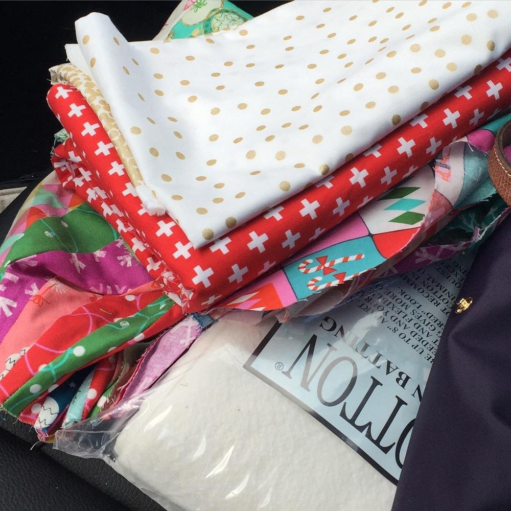 Giant Dresden Christmas Tree Skirt - selected backing and binding fabrics
