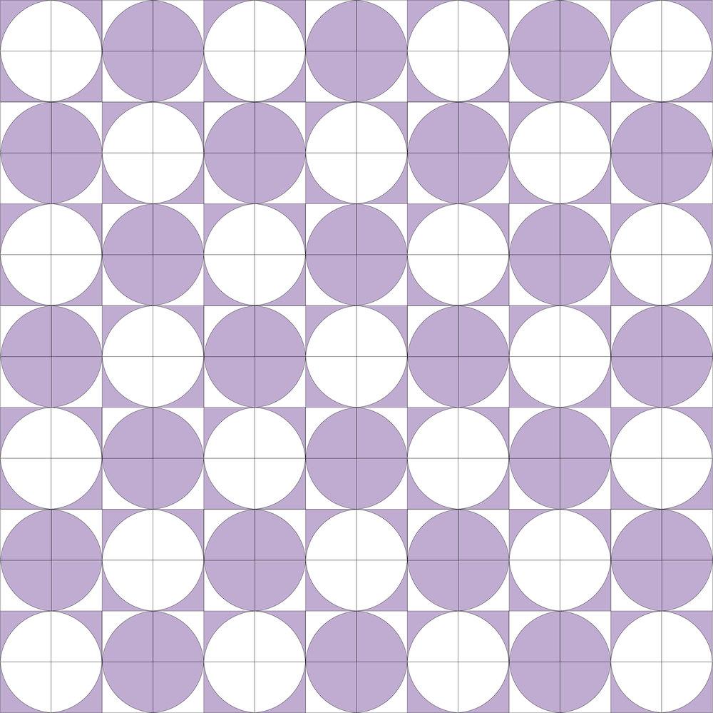 Drunkard's Path Quilt Pattern + eBook concept illustrations in Adobe Illustrator - polka dots
