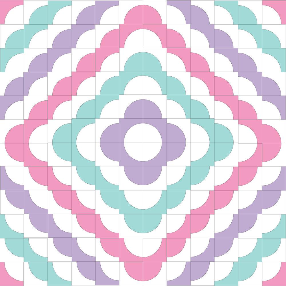 Drunkard's Path Quilt Pattern + eBook concept illustrations in Adobe Illustrator - love ring multi color