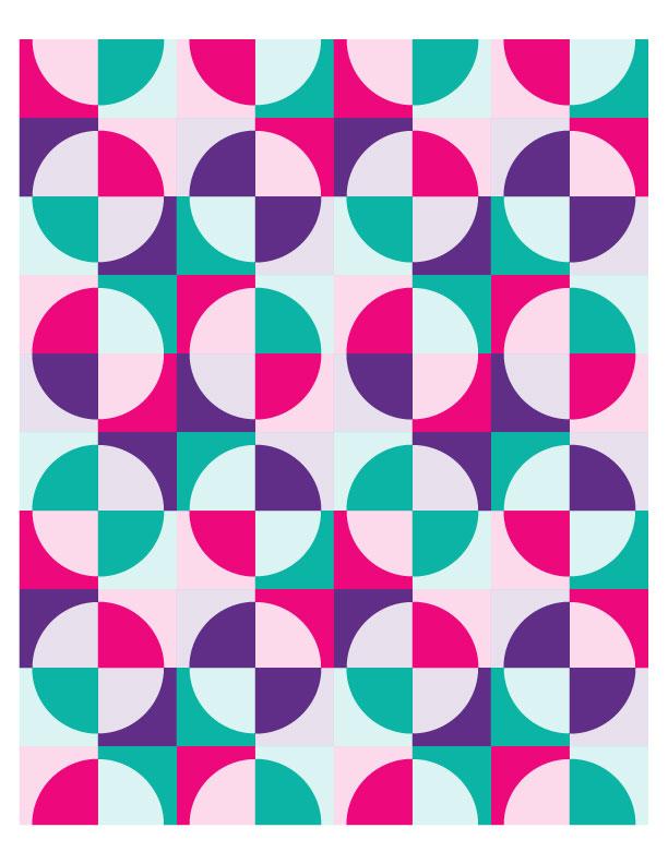 Drunkard's Path Quilt Pattern + eBook concept illustrations in Adobe Illustrator
