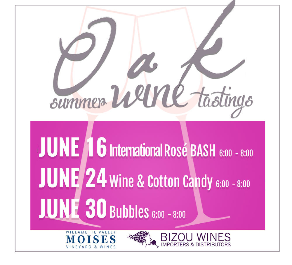 June 16 - International Rose Bash  June 24 - Wine & Cotton Candy  June 30 - Bubbles