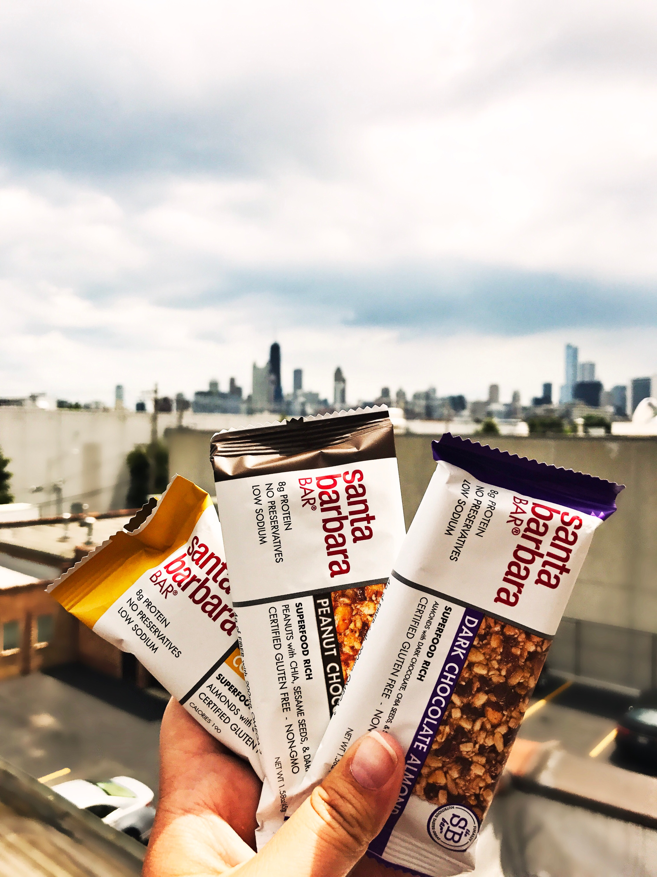 Bars Pictured from left to right:Coconut Almond, Peanut Chocolate Cherry, and Dark Chocolate Almond