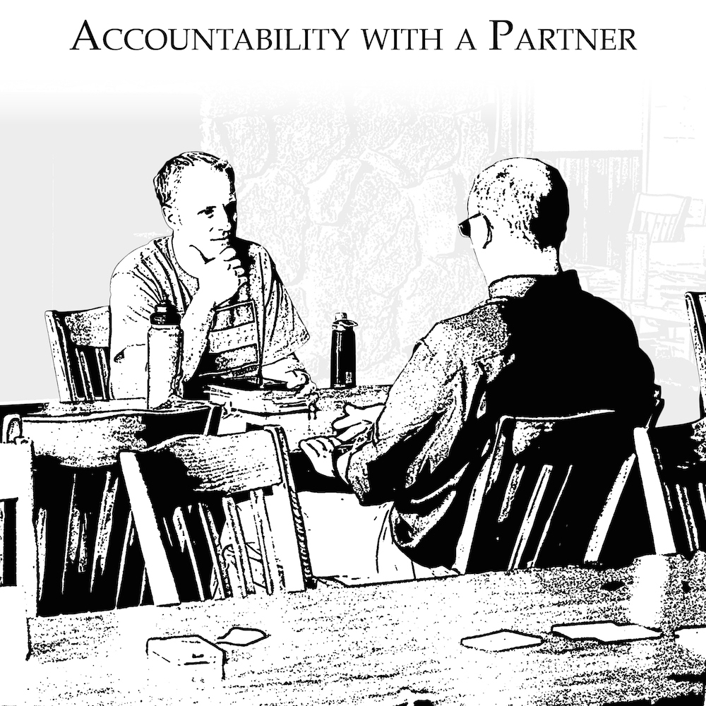 Men share with the same partner each meeting their success or failure to implement their previous resolution.
