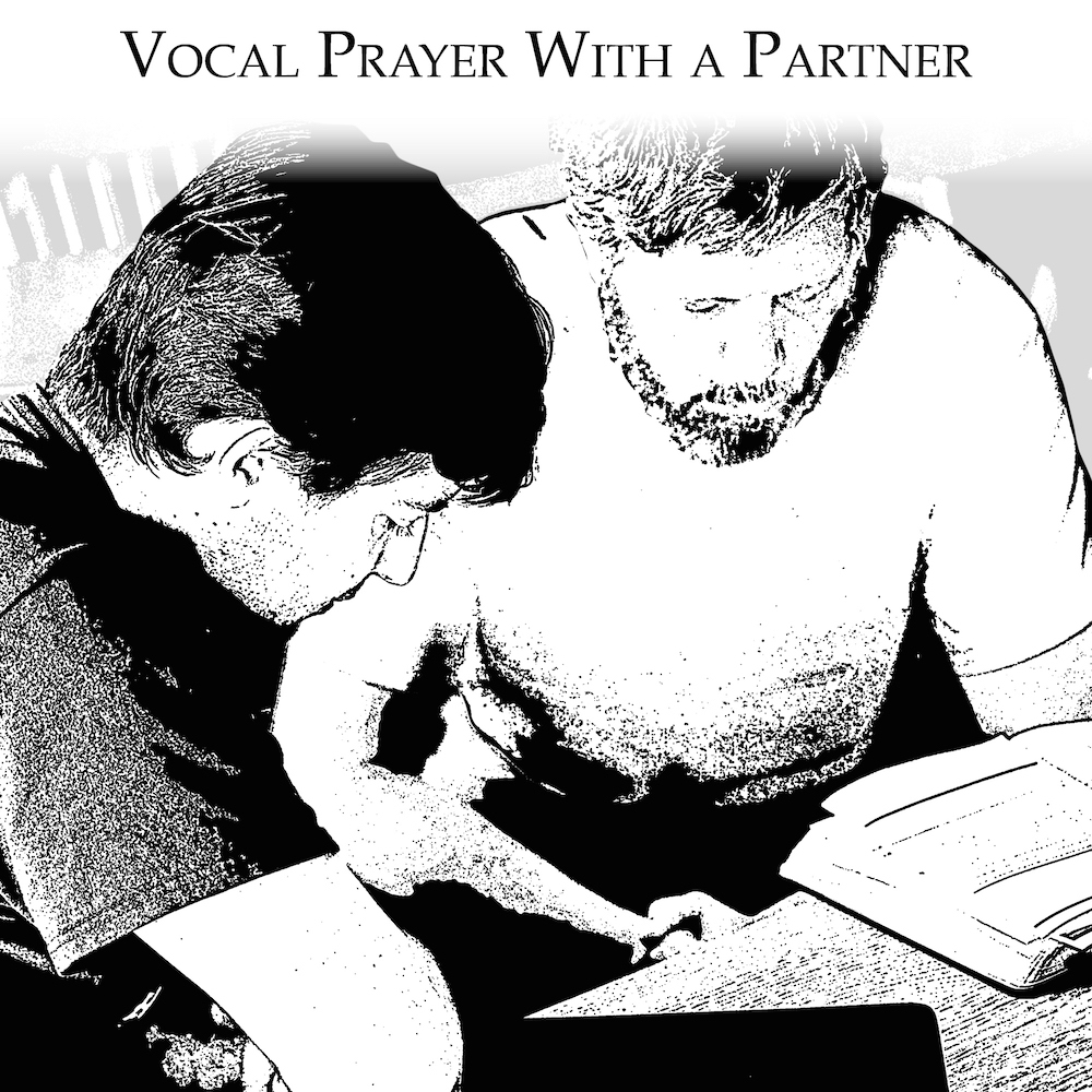 Men close with personal vocal prayer with their partner.