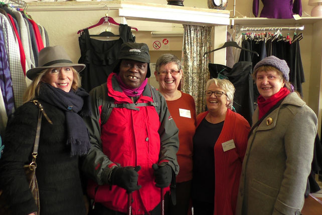 john sentamu,  archbishop of york, visits emmanuel church shop