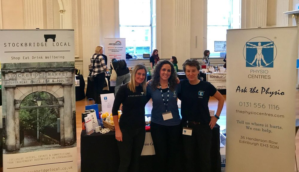 Stockbridge Local and The Physio Centres booth at Edinburgh Wellbeing Festival (27-28 Jan).