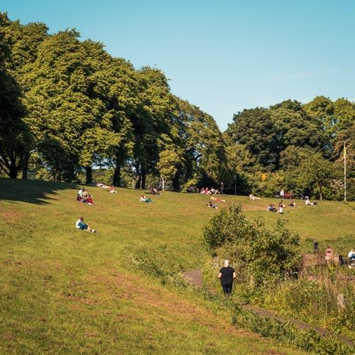 Sunbathing in Inverleith Park. Copyright Martin C Stewart