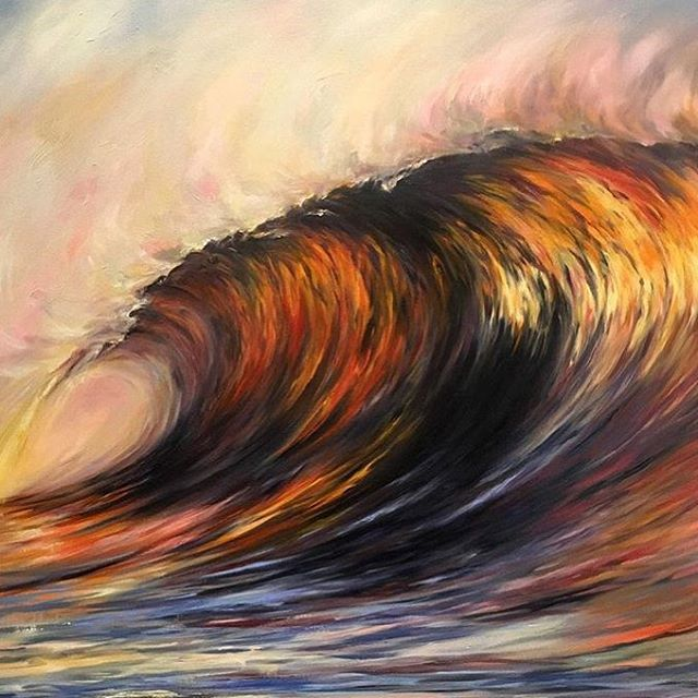 @alphaartgallery just received this striking painting by Senja Brendon: 'Sundowner' - oil on canvas - 97x97cm now on display at the gallery ☀️🌊
