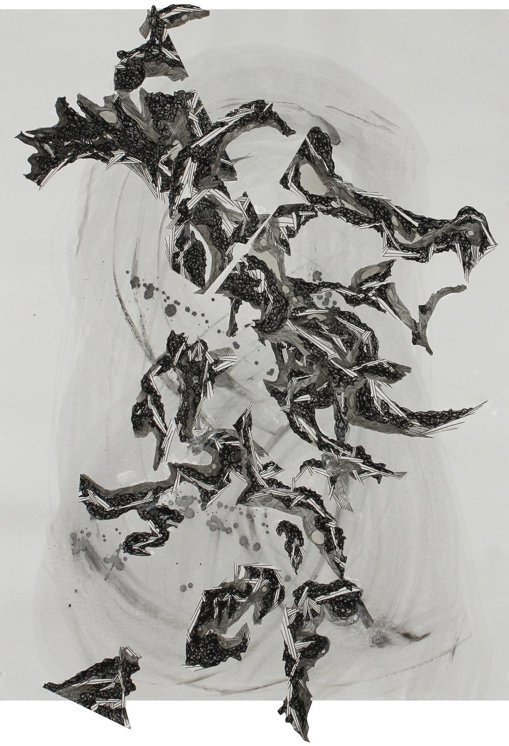 """Fallen Lines Descending, Ink on paper, 30"""" x 23"""""""