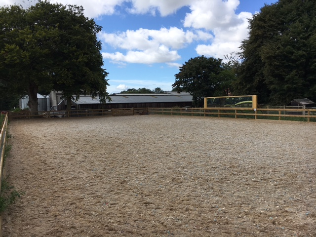 The arena has post and rail fencing and a sand and fibre floor