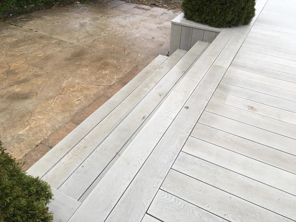 Steps to the decking area
