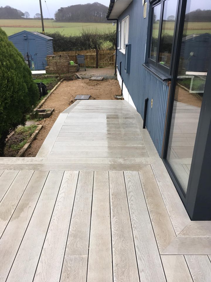 Ramped entry point onto the decking