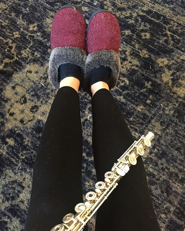 If you're teaching lessons at home on a snow day, is it acceptable to wear house shoes? ❄️ 🥶🎶 See also #cathair  #flute #flutes #fluteplayer #flutelyfe #flutelife #flutemusic #fluteteacher #flutelady #flutegram #flutesofinstagram