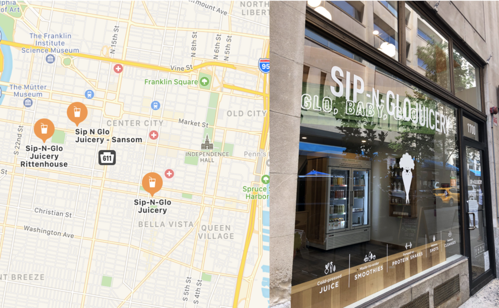 Sip-N-Glo has 3 Locations around Philadelphia: 1700 Samson St, 257 S 20th St, and 932 South St.