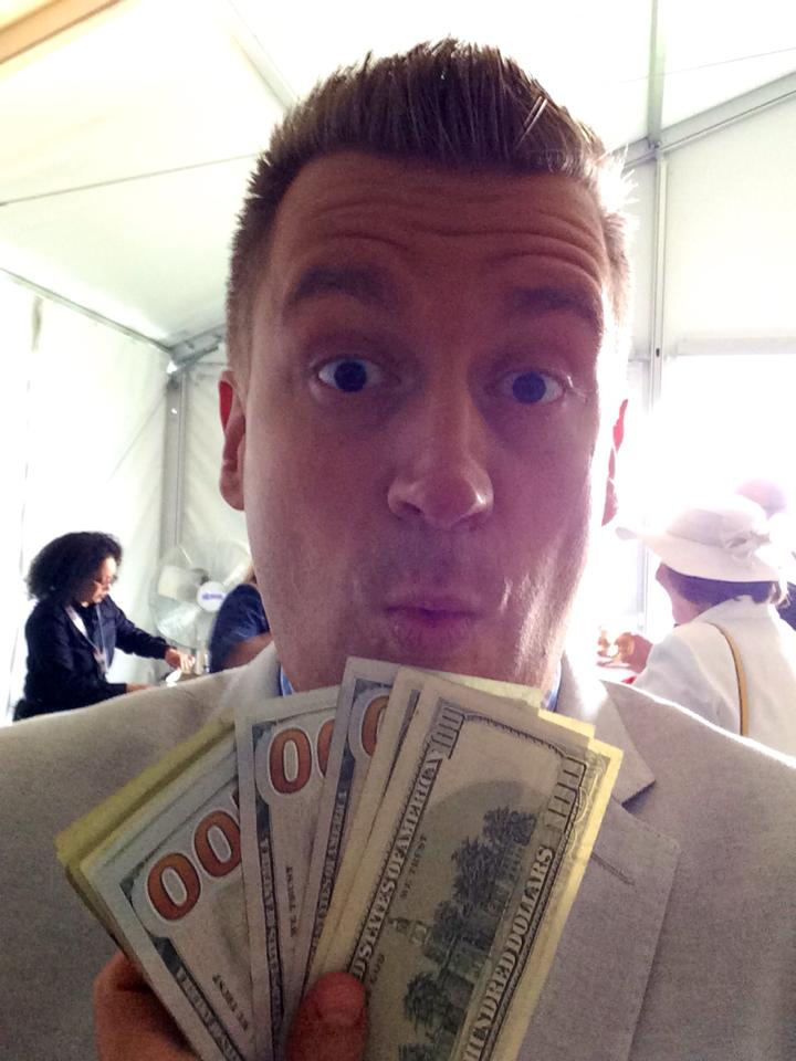 """Money flows to me in expected and unexpected ways""-- This was me winning at a trip to the Preakness in 2014. More of this please!"