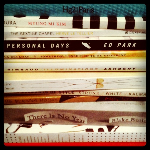 nyc travelogue: reckless abandon booklist I promised reckless abandon in book-shopping on my trip & I did the best I could. Here's the list of what I brought back. This should take me a while.  A Hedonist's Guide to Paris, Sophie Dening  Dura, Myung Mi Kim The Sextine Chapel, Herve Le Tellier Personal Days, Ed Park Something I Expected to Be Different, Joshua Beckman Illuminations, Arthur Rimbaud, translated by John Ashberry The Principles of Uncertainty, Maira Kalman The Elements of Style (illustrated), Strunk, White, Kalman The Burning House, Paul Lisicky There Is No Year, Blake Butler <Exhibit Catalog> Lists: To-dos, Illustrated Inventories, Collected Thoughts and Other Artists' Enumerations from the Smithsonian Archives of American Art, Liza Kirwin <Exhibit Catalog> Maira Kalman, Various Illuminations (of a Crazy World), Ingrid Schaffner <Exhibit Catalog> Collecting Matisse and Modern Masters: The Cone Sisters of Baltimore, Karen Levitov The Sweet Life in Paris: Delicious Adventures in the World's Most Glorious - and Perplexing - City, David Lebovitz See A Little Light: The Trail of Rage and Melody, Bob Mould