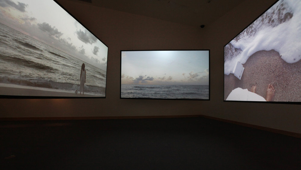 Blue , short film. Three channel video installation views at the Boca Raton Museum of Art, 2016-2017.