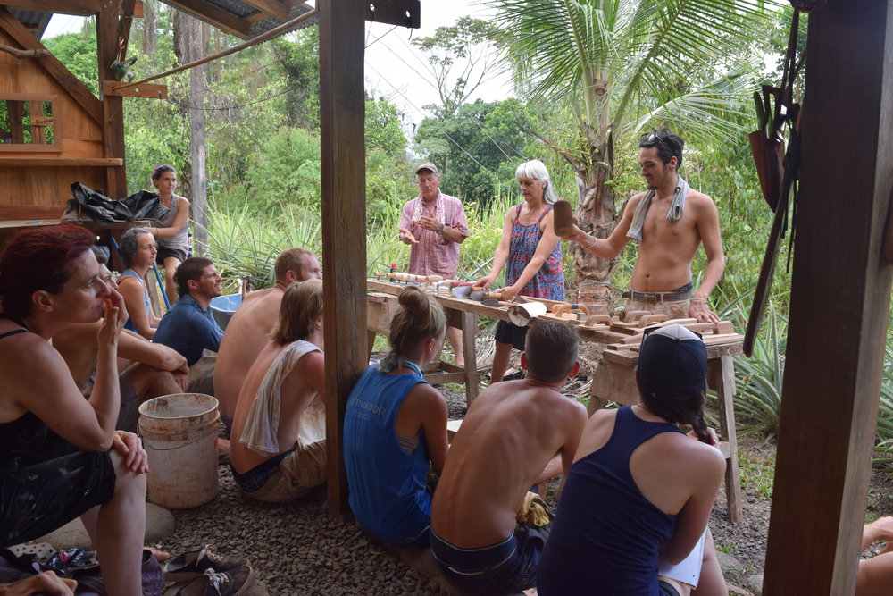 Rancho Mastatal students and apprentices come from around the world to learn about engaging deeply with place. (Photo Credit Laura Killingbeck; Mastatal, Costa Rica; Instructors from left to right: Bill Steen, Athena Steen, Benito Steen)