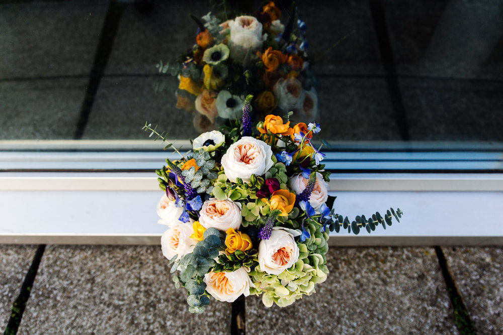 Colourful bouquet for a Liverpool wedding