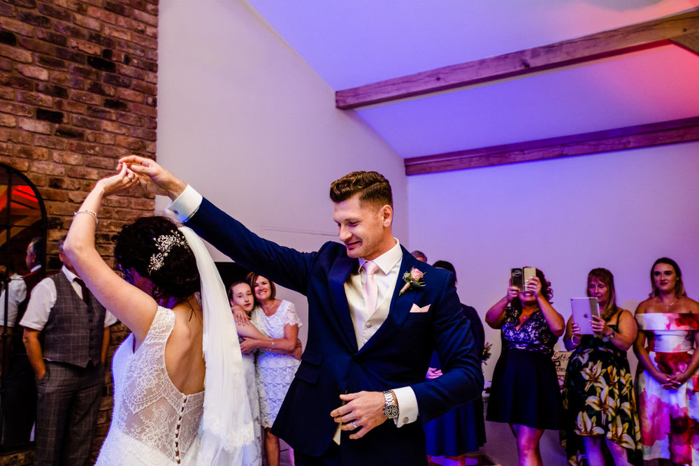 A couples first dance at their Pryors Hayes wedding.