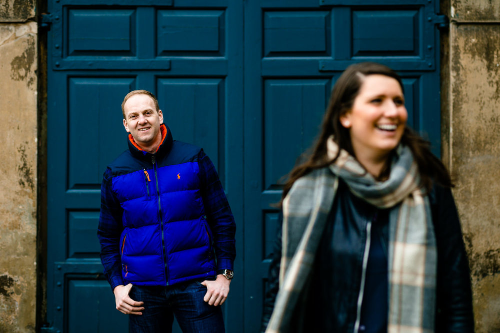 Claire and Damien laughing on their relaxed pre wedding shoot.