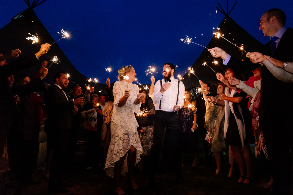 Sparklers at a tipi wedding in Anglesey.