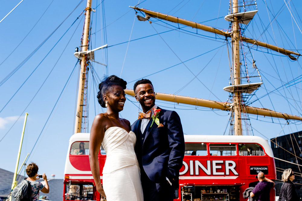 A bride and groom at Liverpool Docks on their wedding day at Isla Gladstone.