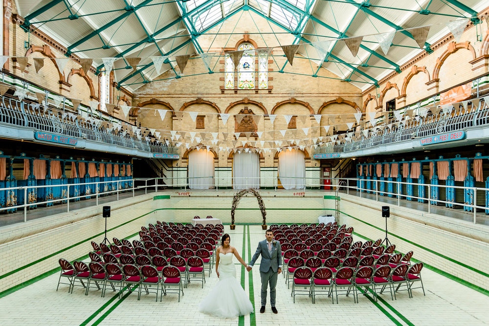 The main gala pool at a Victoria Baths wedding, by Manchester wedding photographers About Today Photography