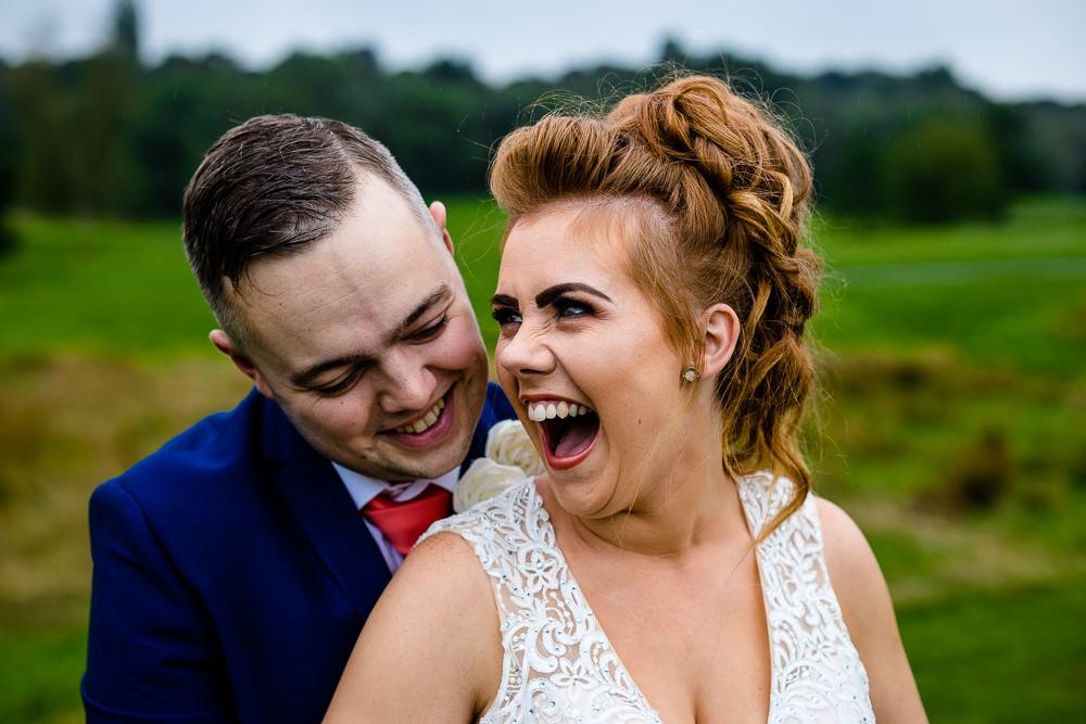 Cheryl & Rob laugh together, Worsley Wedding Photographers