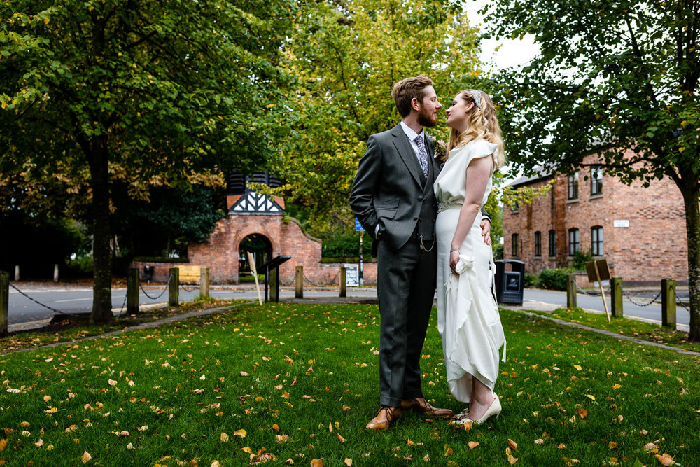 Rose & Josh on Chorlton Green on their wedding day at The Lead Station.