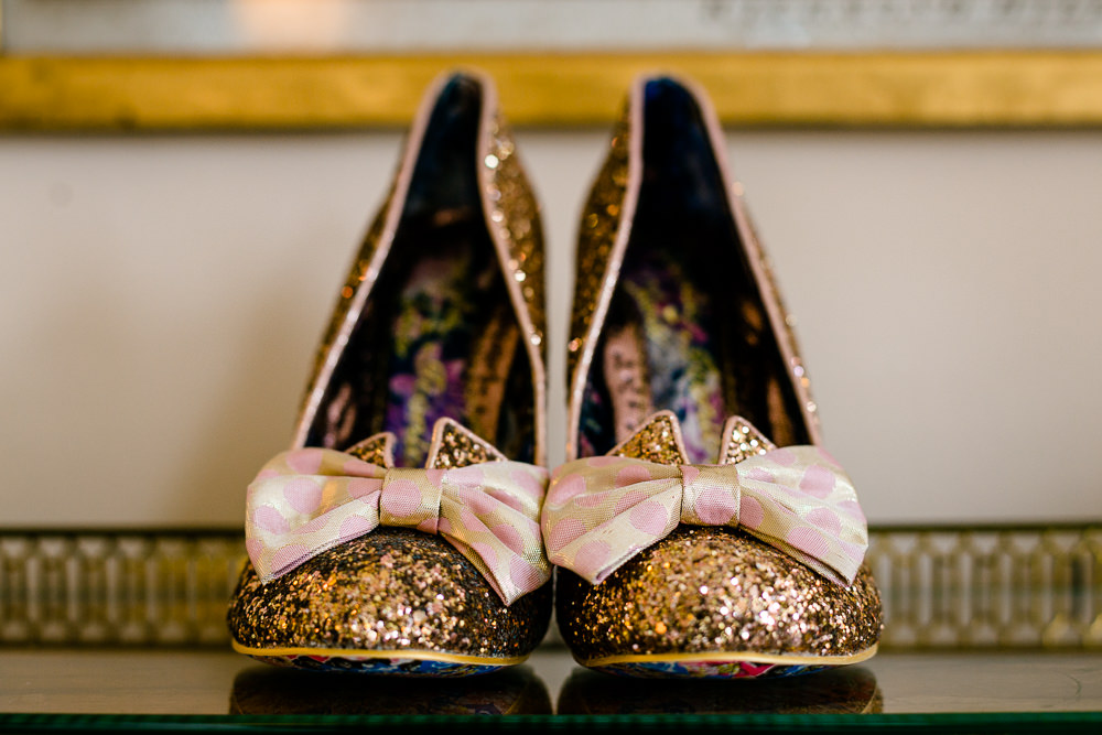 Irregular Choice wedding shoes in the bridal prep room at Iscoyd Park