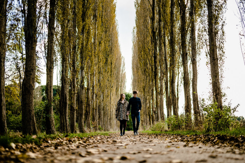 Didsbury Wedding Photo, a tree lined path at Fletcher Moss Park