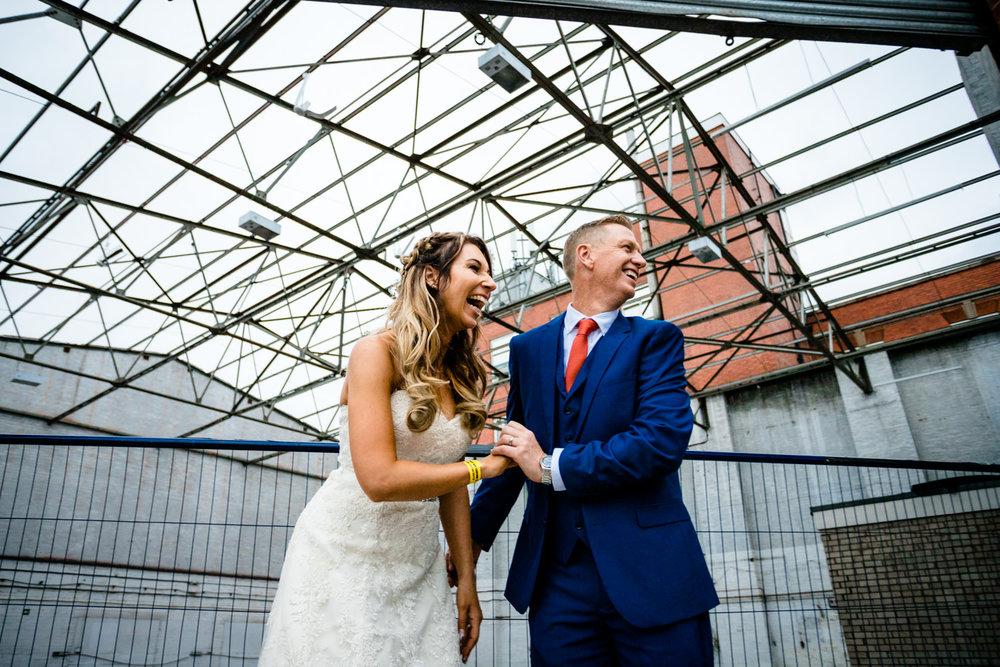 Industrial couple shoot, Victoria Warehouse wedding photo