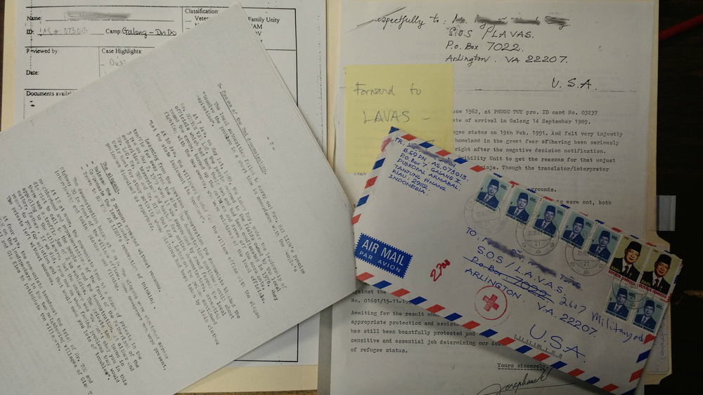Each folder generally includes the refugee's application for asylum, a letter personally written by them (detailing their experience during the war, the persecution they had to endure, and their reason(s) for emigrating from Vietnam), a translated version of their letter, and sometimes photographs of themselves and their families. [Credit goes to BPSOS]