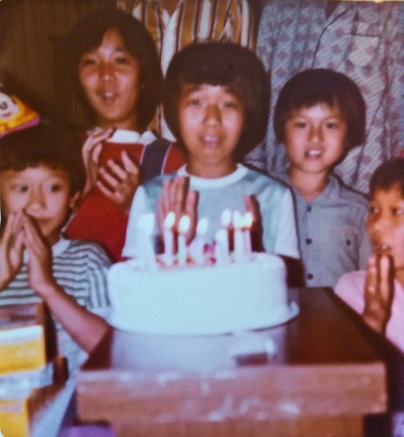 Tom's 8th birthday. I am in the back on the far left, about 10 years old at the time. The other three kids in the photos are our cousins.