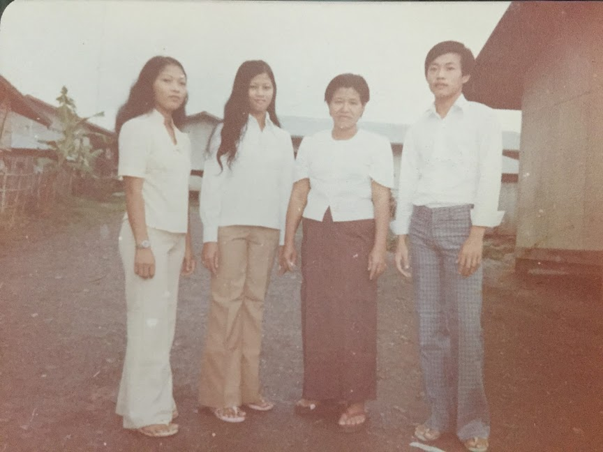 Photo of my maternal family in a refugee camp. My mother, aunt, grandmother, and uncle.
