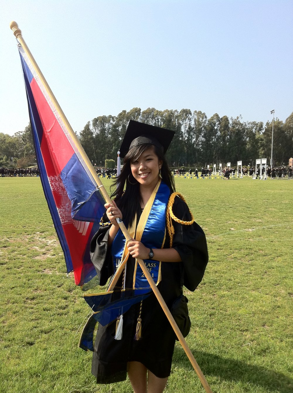 Being the Cambodian flag-bearer at the UCLA graduation.