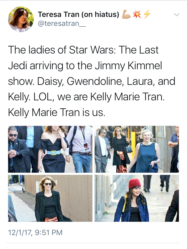 Kelly Marie Tran from Star Wars: The Last Jedi recognized ultimate fangirl Teresa Tran in an Instagram post. Spoiler Alert: Teresa Tran lost all of her chill.