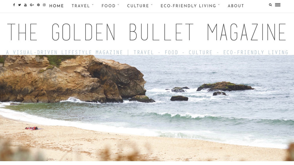 Screenshot of the homepage of   The Golden Bullet Magazine.