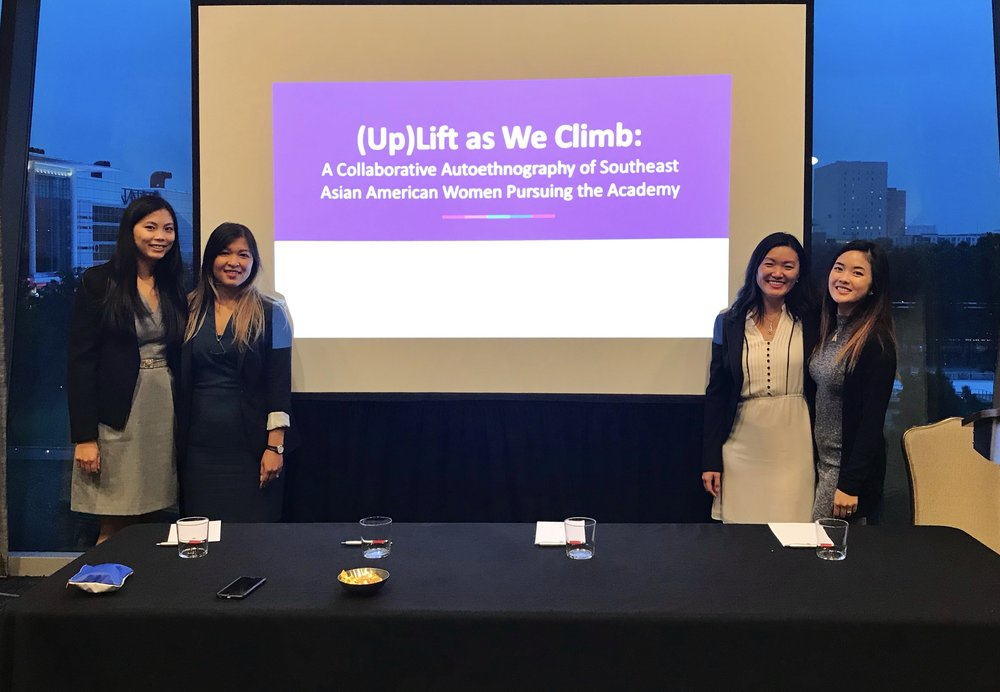 SEAAsterScholars (left to right) Latana Thaviseth, Varaxy Yi, Vanessa Na, and Jacqueline Mac present their research at the Association for the Study of Higher Education (ASHE) conference in Houston, TX.
