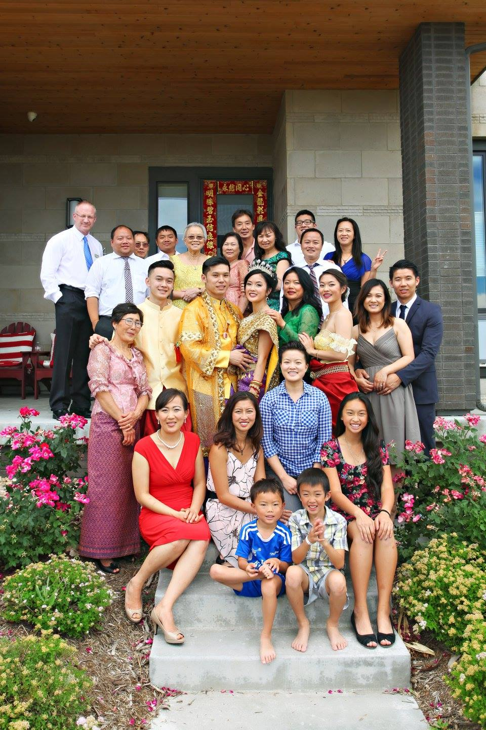 A family photo at Vanessa and her husband David's Khmer wedding in Denver, CO.