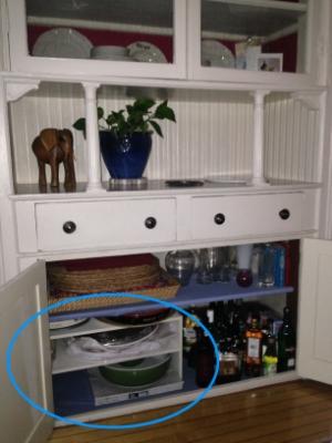 Cabinet after - shoe shelf adds storage!