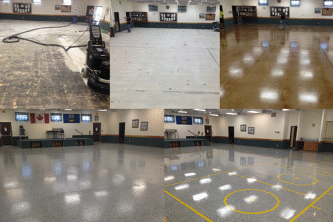 Step by step process from VCT/Mastic Removal to Decorative Broadcast Epoxy System.