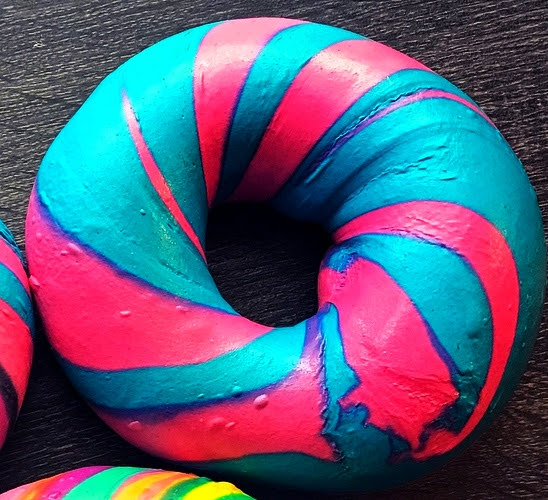 Cotton Candy Bagel Art $3.95    https://www.facebook.com/foodinsider/videos/the-genius-behind-the-rainbow-bagel/1518647988439673/